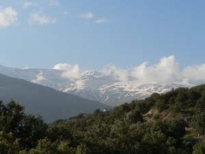 View of the Sierra Nevada from above Capileira